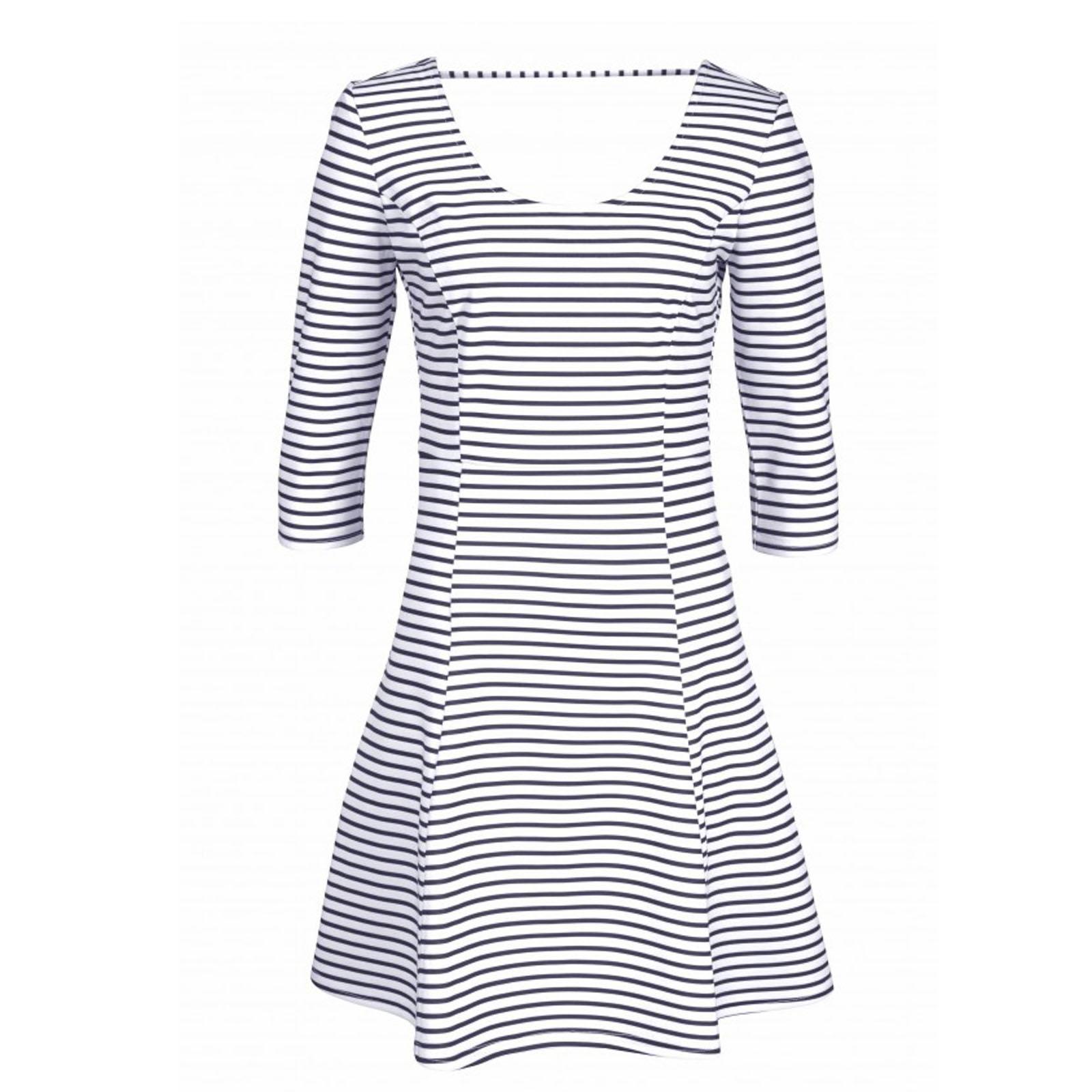 details zu marken kleid gr.34/36 kofferkleid jerseykleid griffig schwarz  weiß gestreift